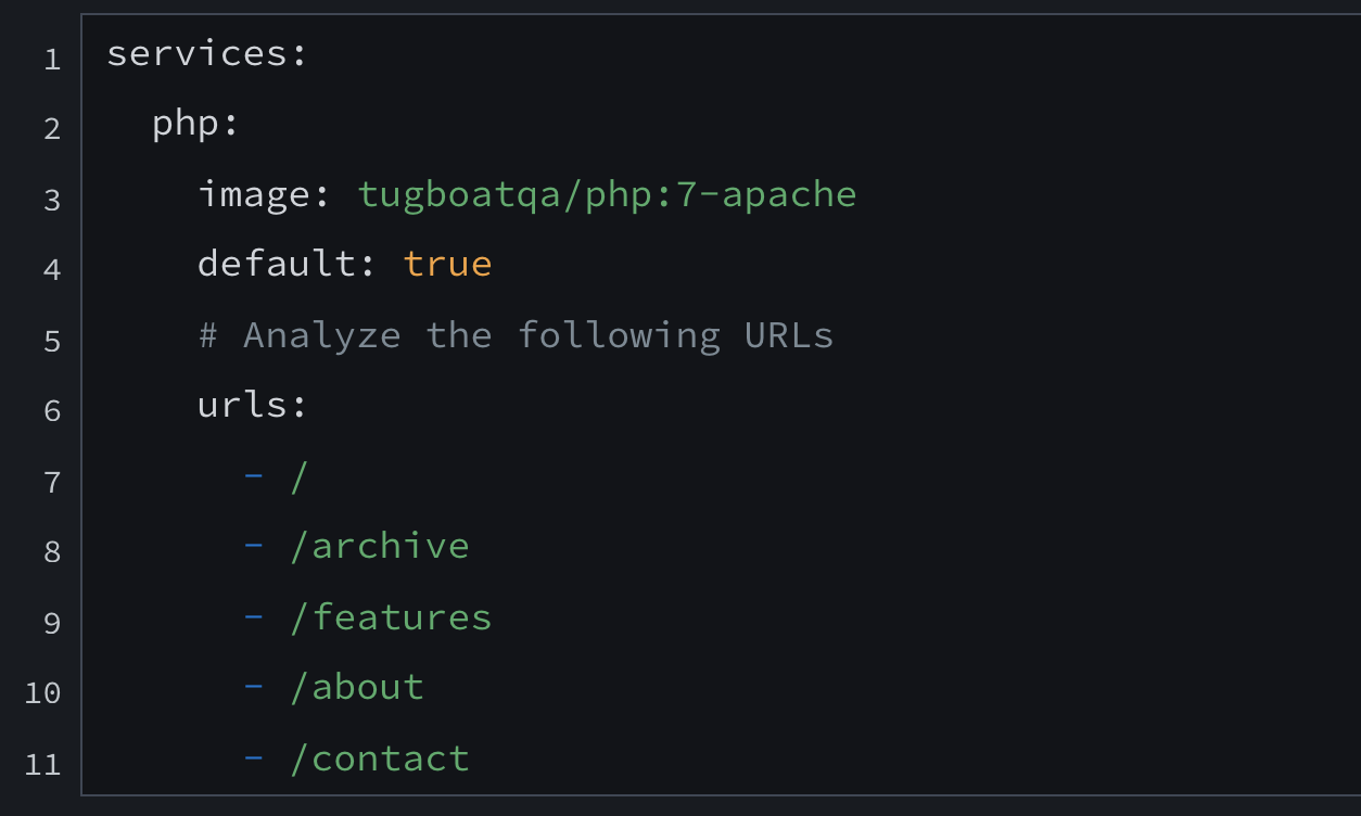 Snapshot of a YAML config file.