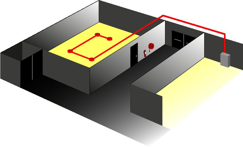 Illustration showing Open area lighting BS5266 Pt 7: (EN1838)Emergency Lighting needs to meet 0.5 Lux minimum