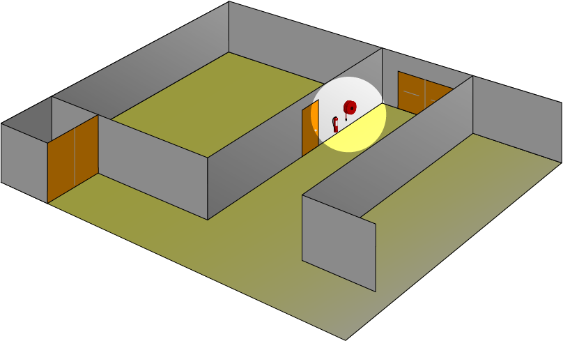 Illustration showing Lighting at fire safety devices needs to be 5 lux minimum