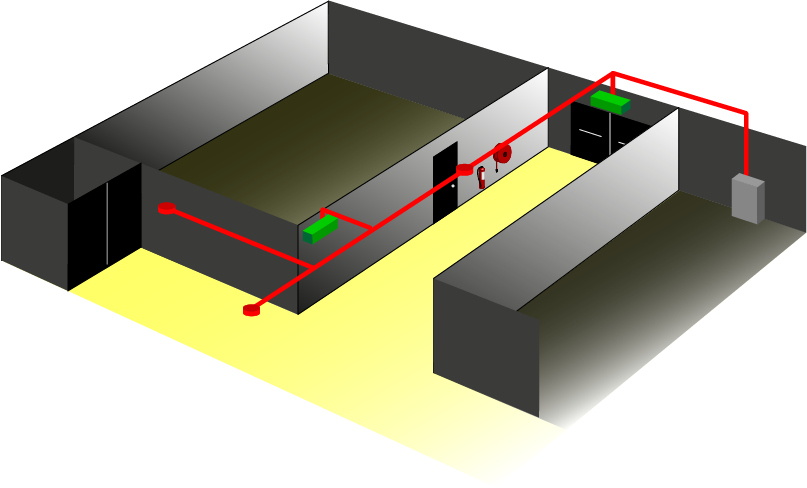 Illustration showing Escape Route Lighting in line with BS 5266 Pt1 2016Emergency Lighting needs to meet 1 Lux minimum and focus attention to achieve luminaires at change of direction, intersections, changes in level and specific points of emphasis.