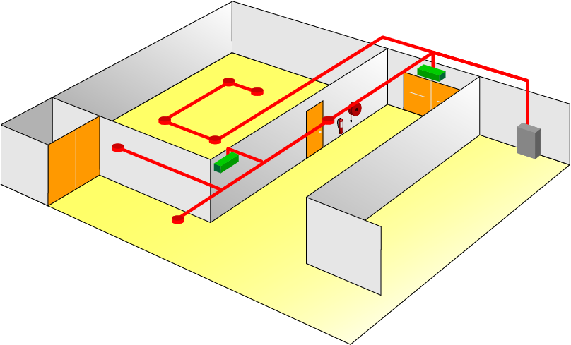 Illustration showing central power supply FP cabling for centrally supplied luminaires.
