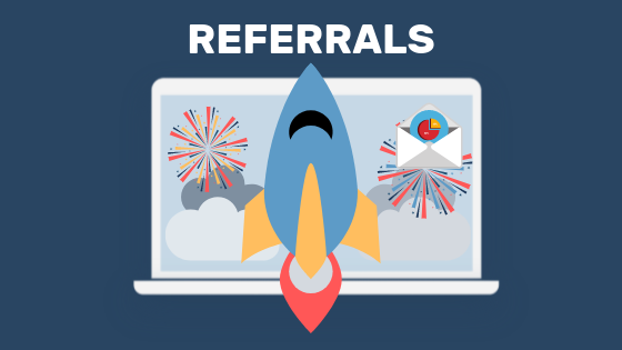 The use of referrals as a tactic to gain website traffic.