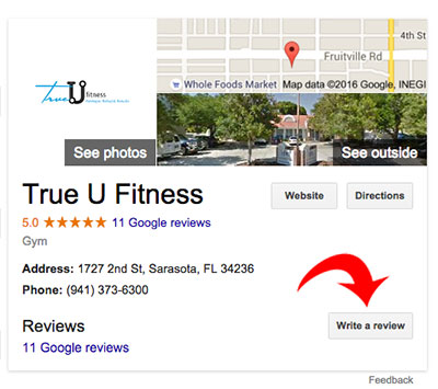 Google my Business listing screenshot with arrow pointing to the review button