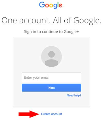 Screenshot of Google login