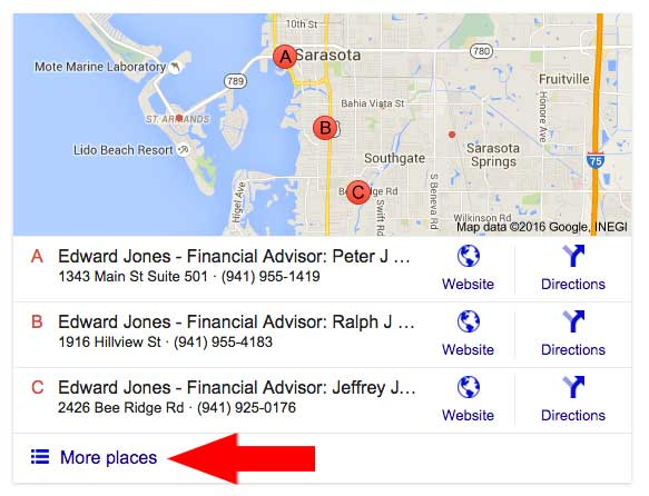 Google local map and listings with arrow pointing to More places