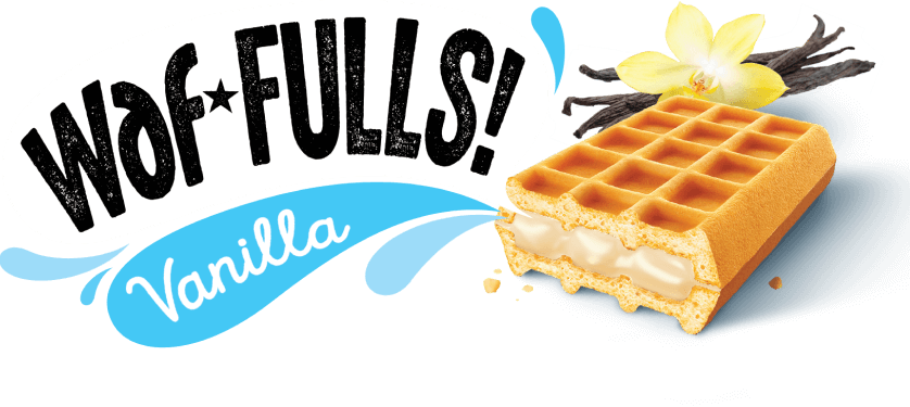 Logo of Waf Fulls in black letters on white background. Below it, there's a blue shape with the word Vanilla in white letters. On the right, there's a brownish waffle with a vanilla flower behind.
