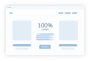 Comics picture showing website-like page with light-blue lines on a white background. In the middle there's a word 100% match in light blue