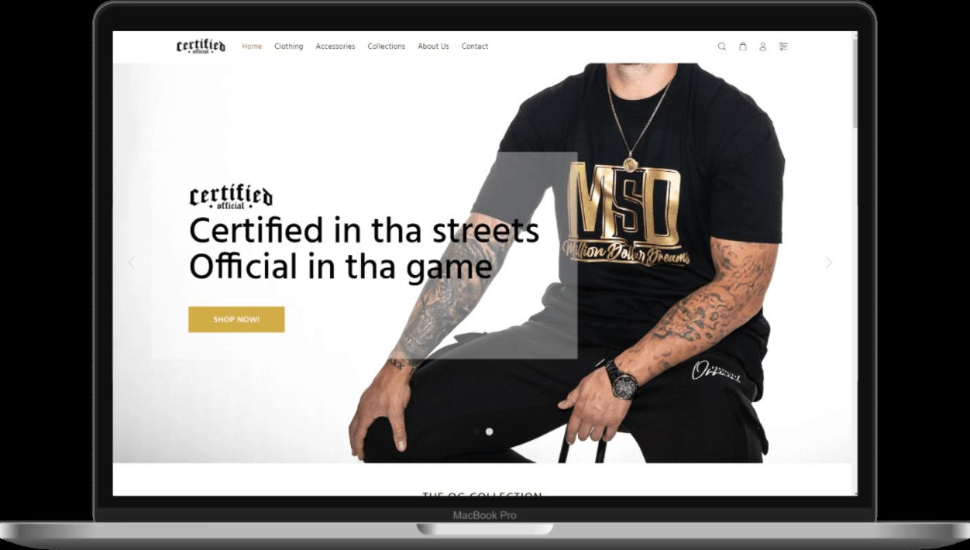 Certified Official New Ecommerce Website Screenshot