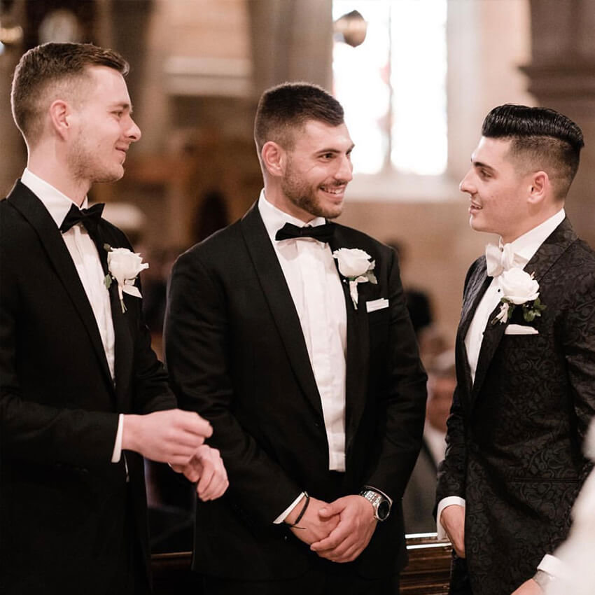 Men wearing a tailor made wedding suits 7