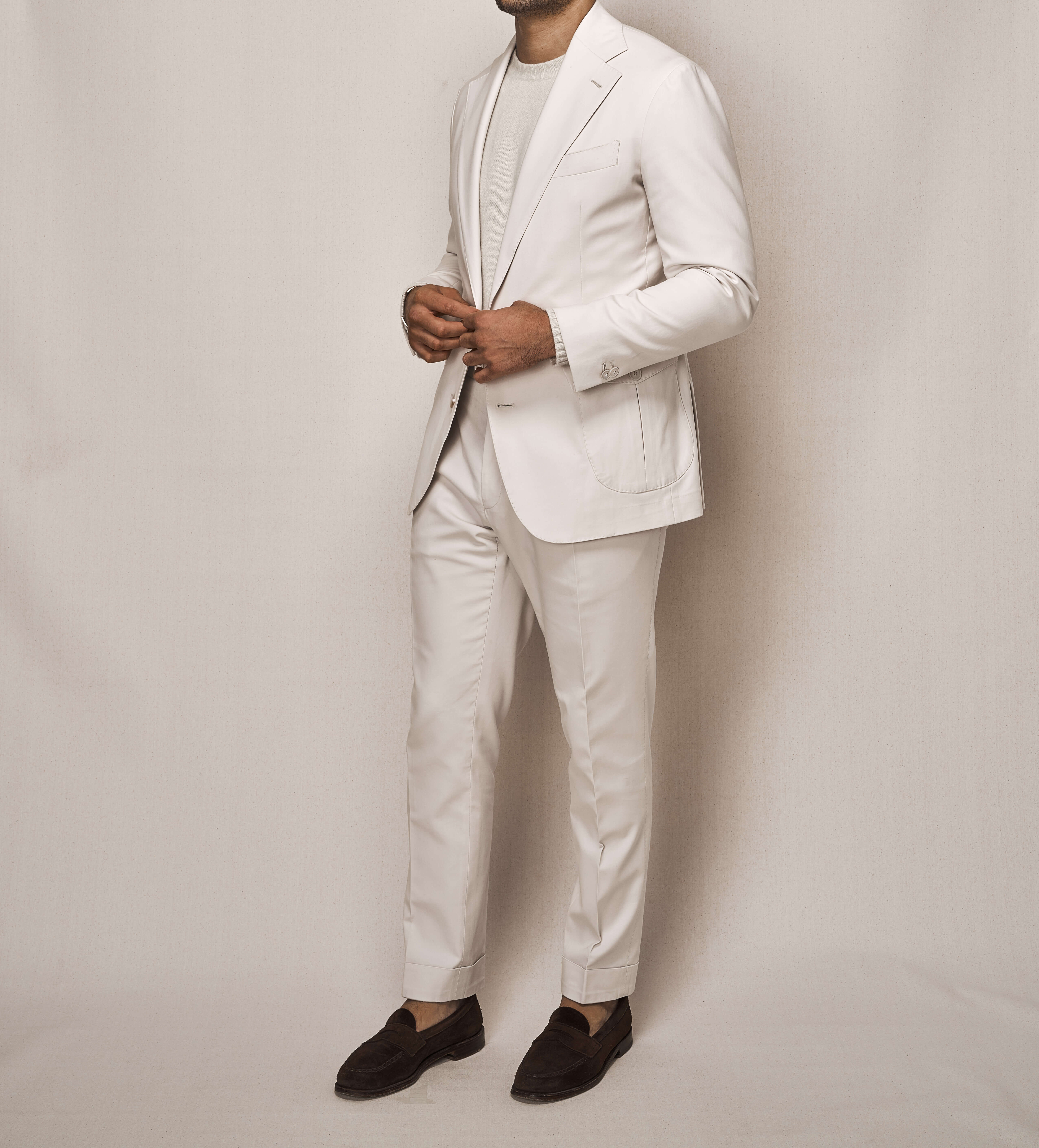 Cotton Stretch Sports Two Piece Suit | Off White