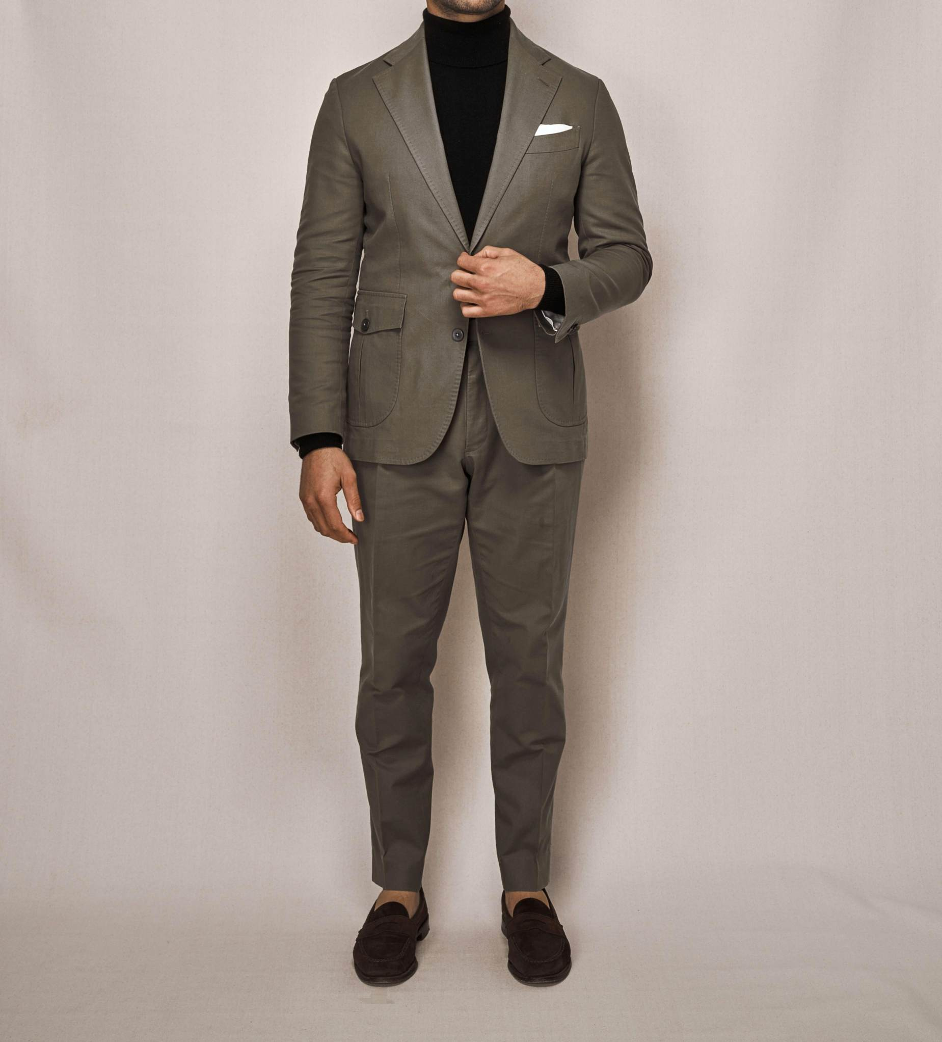 Cotton Stretch Sports Two Piece Suit | Olive