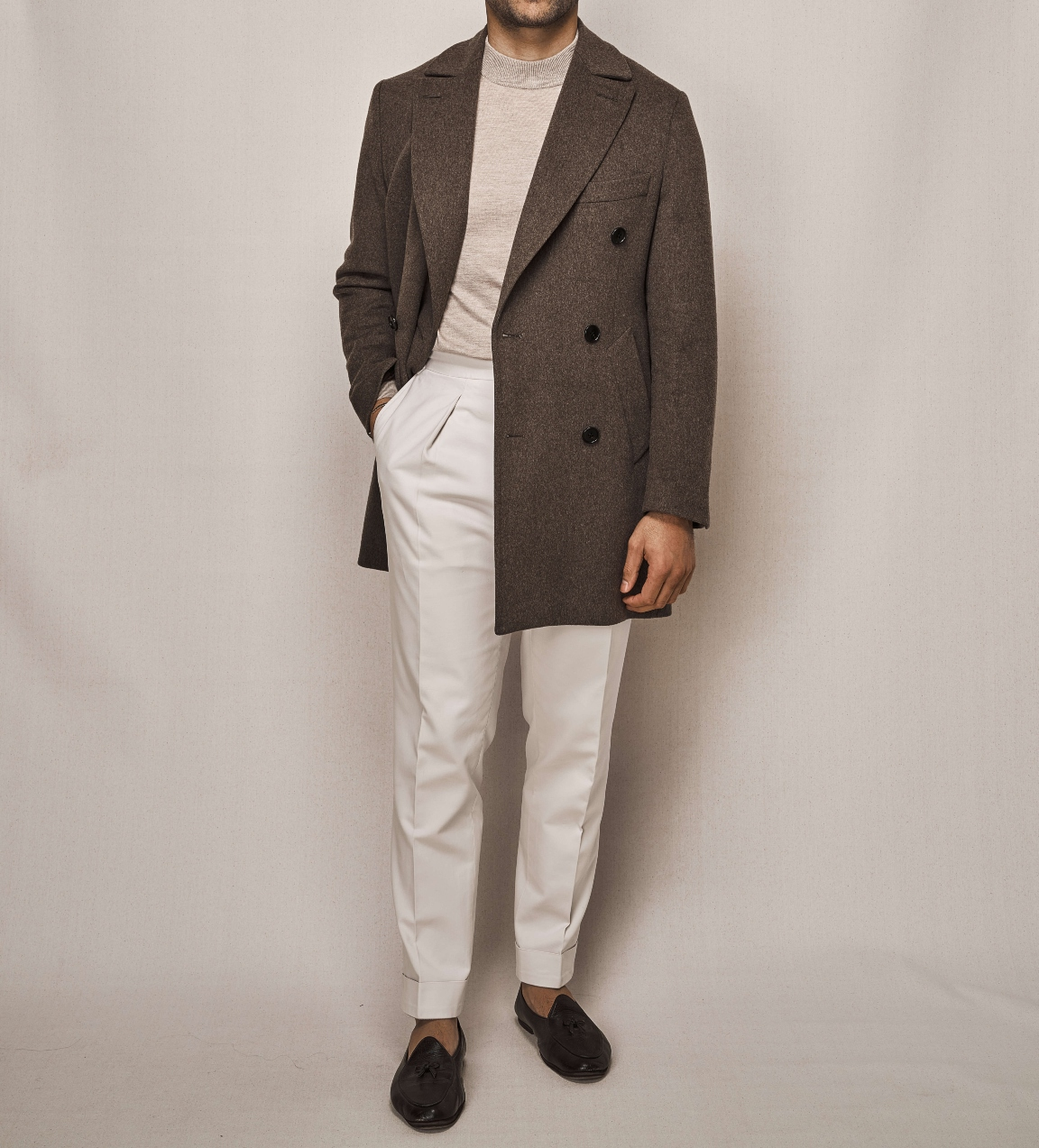 Double Breasted Overcoat | White Cotton Stretch Trouser