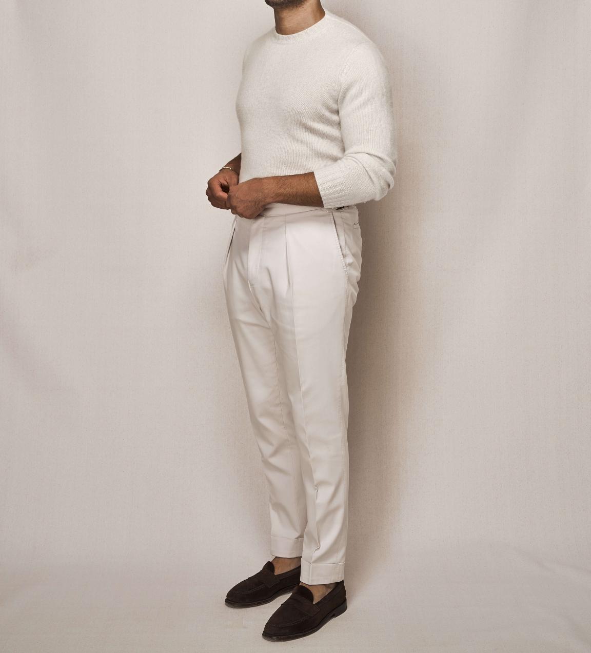 White Cashmere Knit Crew Neck | Cotton Stretch Trouser