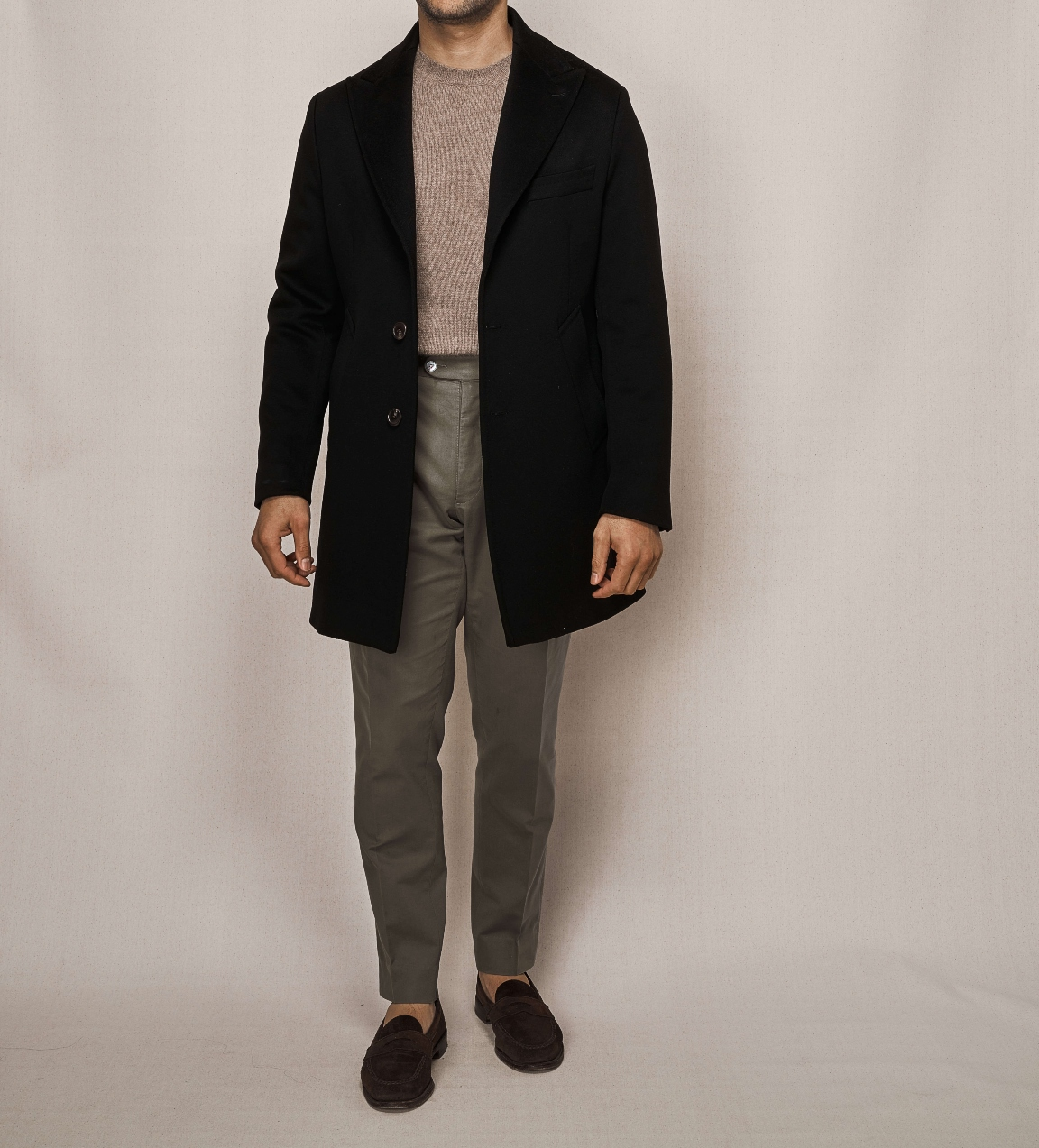 Single Breasted Overcoat | Olive Cotton Stretch Trouser