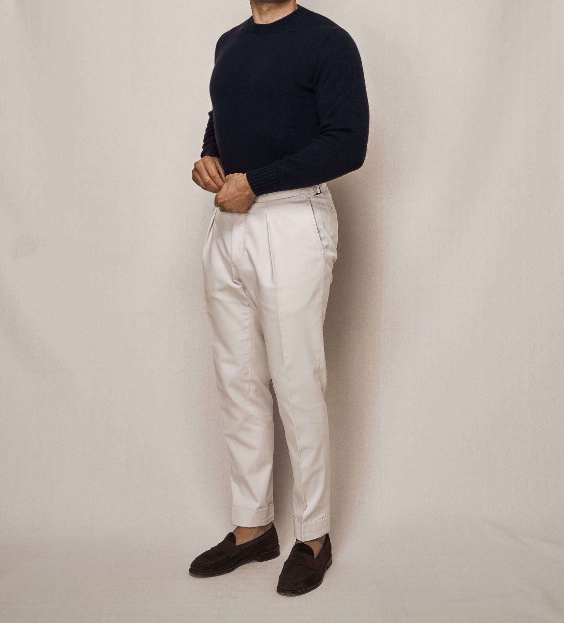 Navy Cashmere Knit Crew Neck   Cotton Stretch Trouser