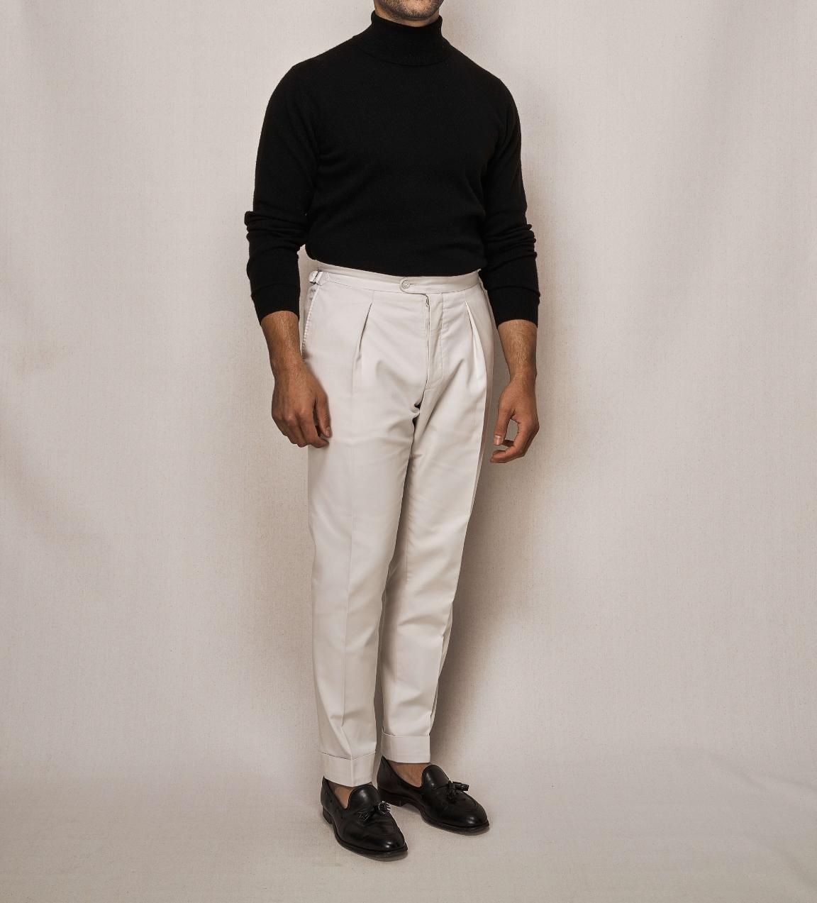 Black Cashmere Knit Turtle Neck | Cotton Stretch Trouser