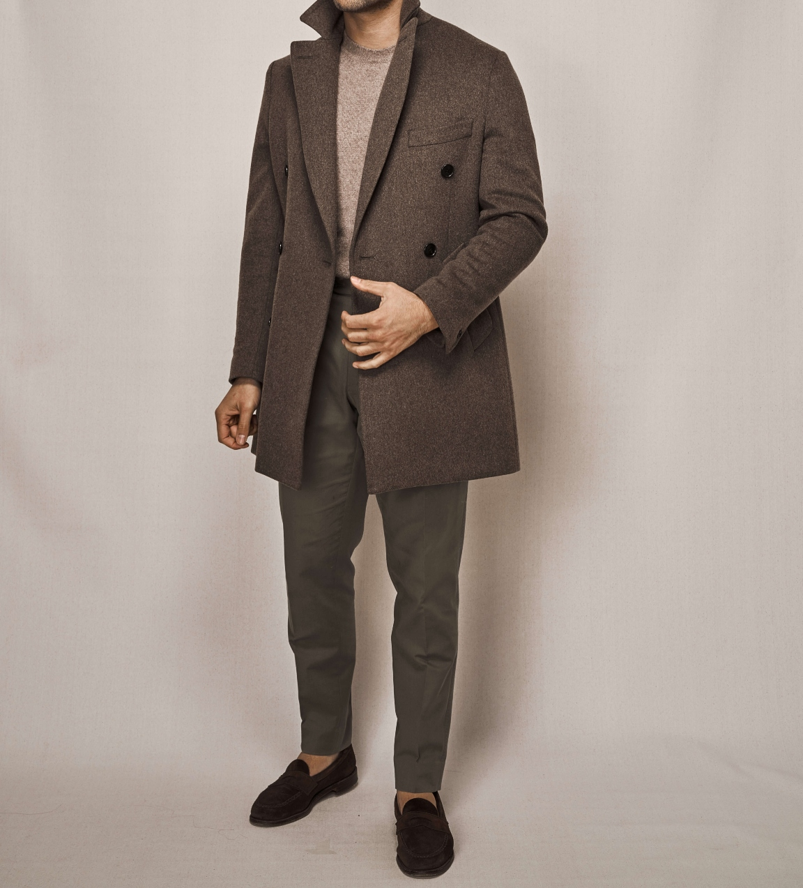 Double Breasted Overcoat | Olive Cotton Stretch Trouser