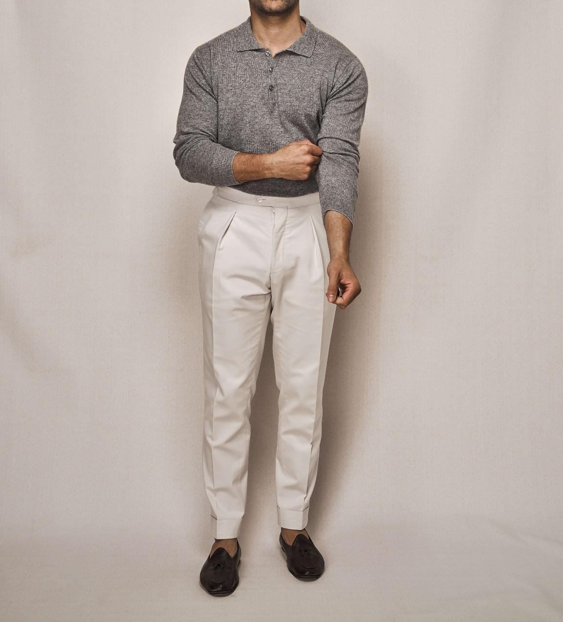 Silk Cashmere Polo LS   Cotton Stretch Trouser