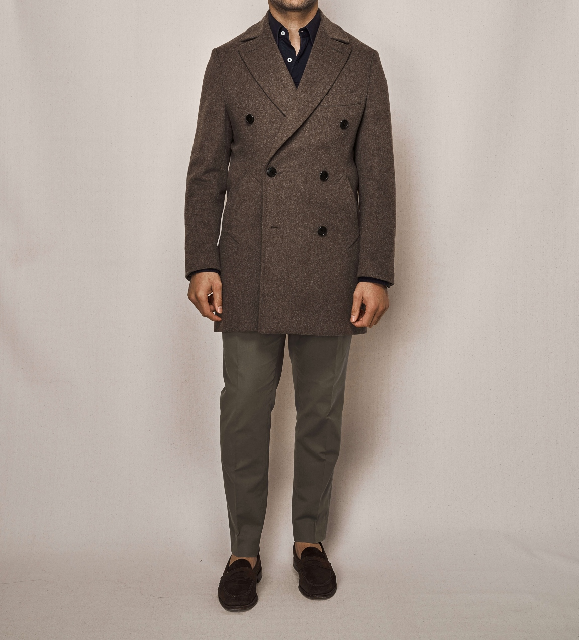 Double Breasted Overcoat | Cotton Stretch Trouser