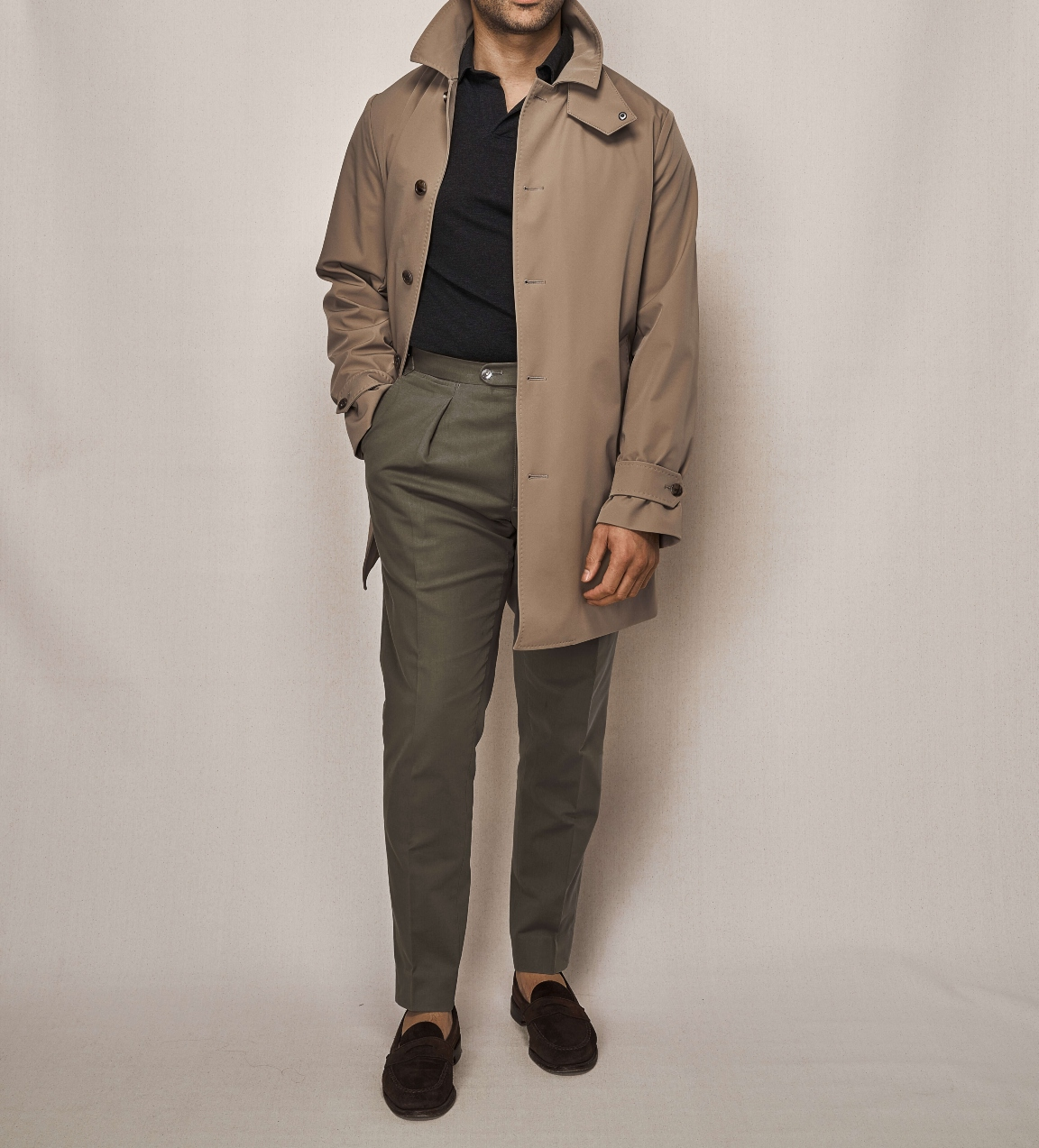 Car Coat Technical Cloth | Olive Cotton Stretch Trouser