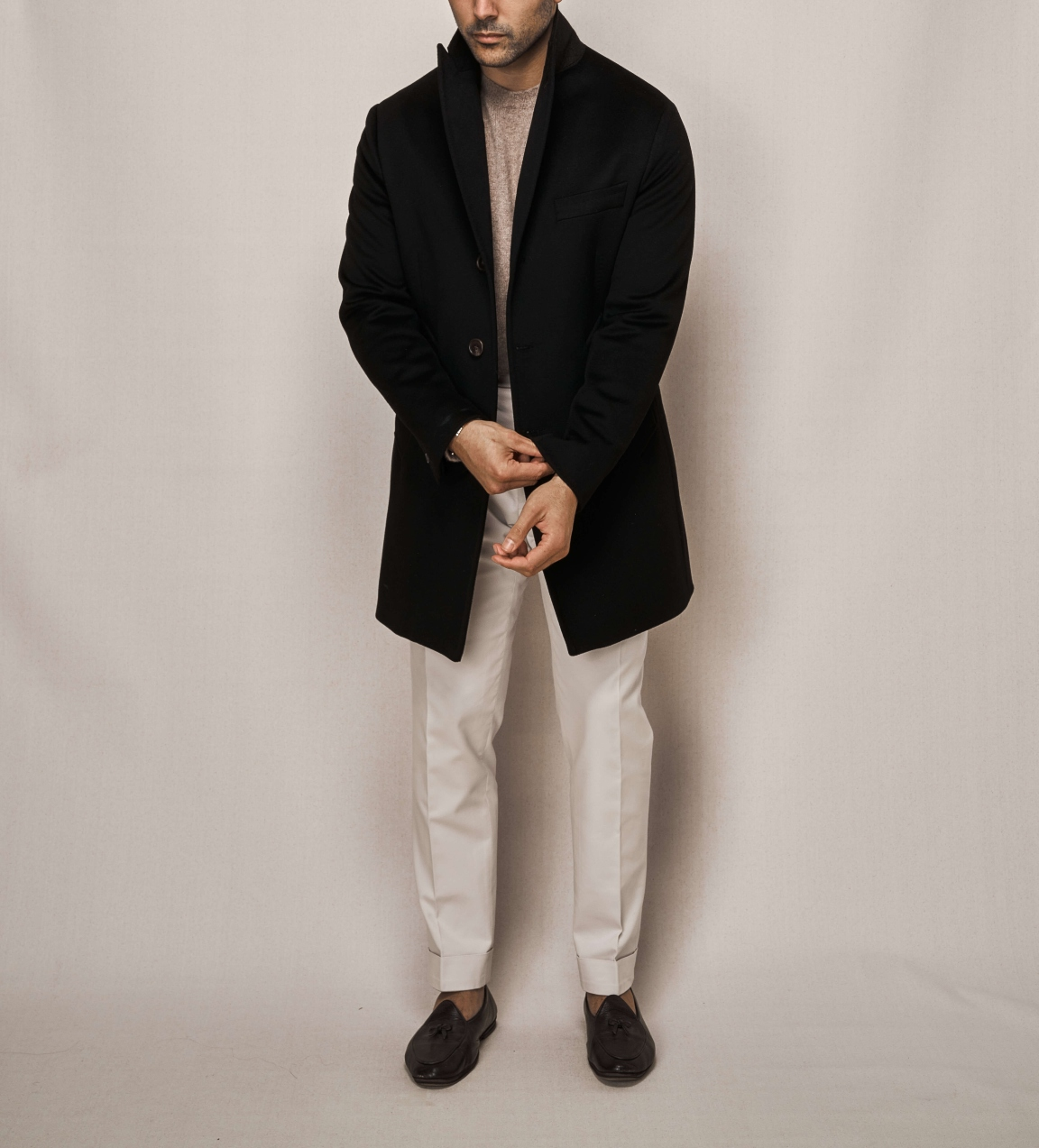 Single Breasted Overcoat | White Cotton Stretch Trouser
