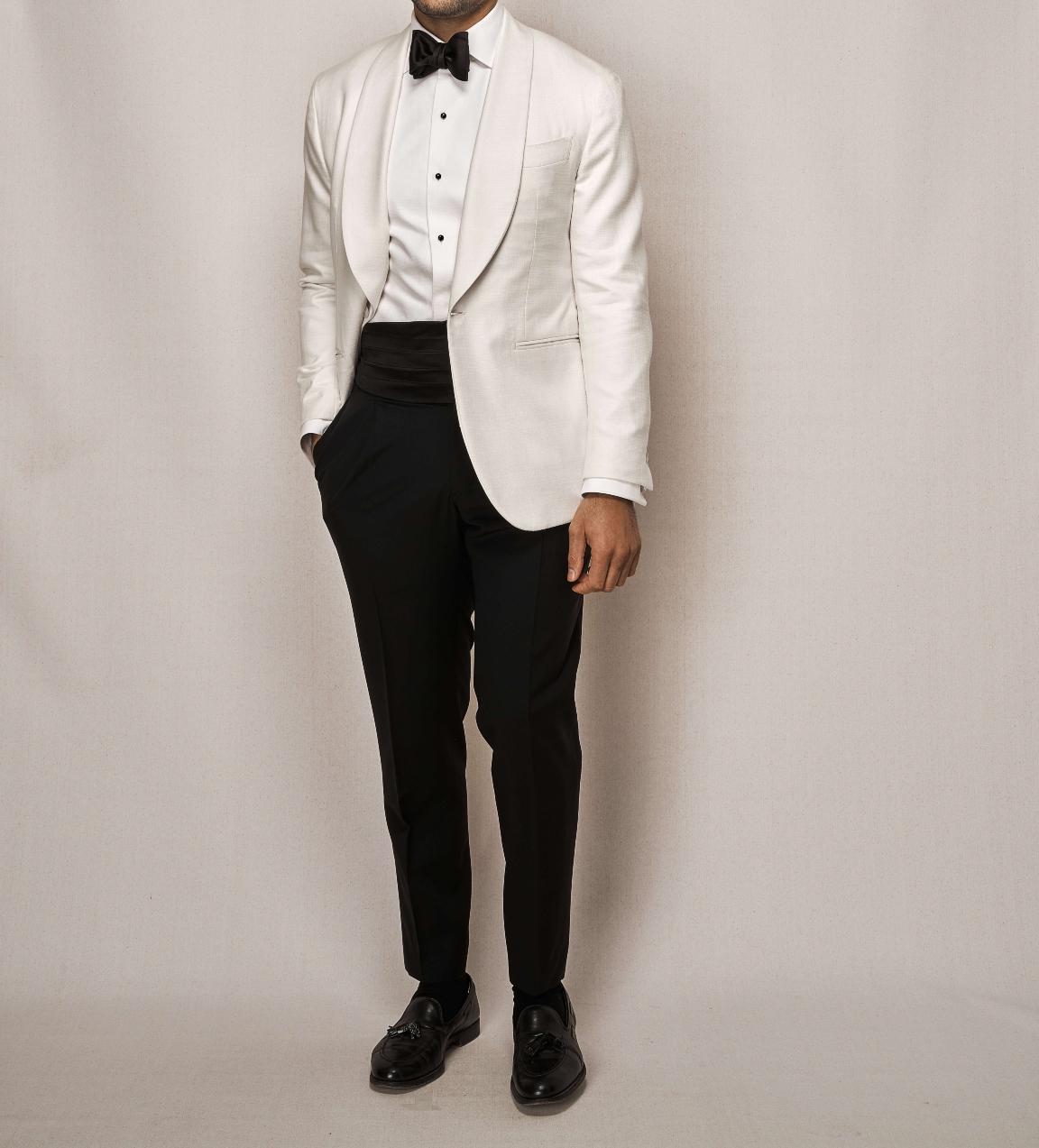 Wool Silk & Linen Dinner Jacket   Single Pleated Mohair Trouser