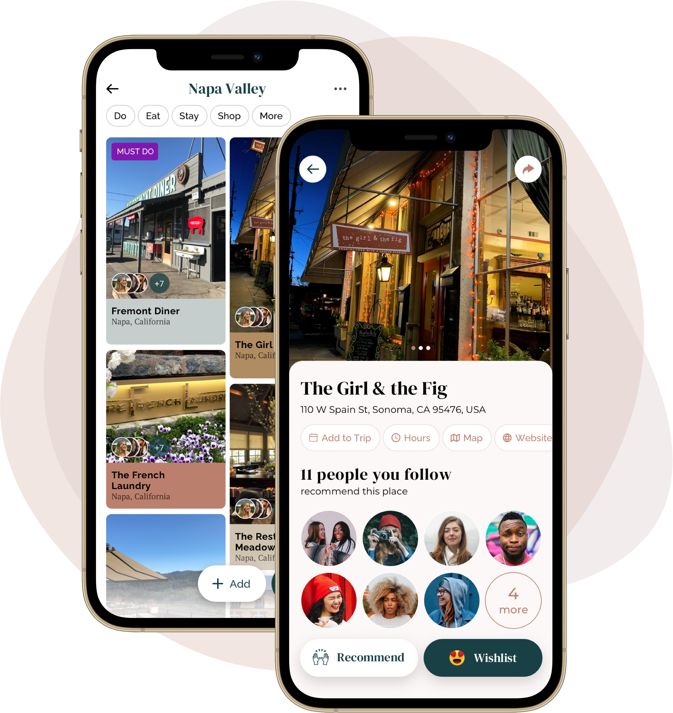 App screenshots of travel recommendations