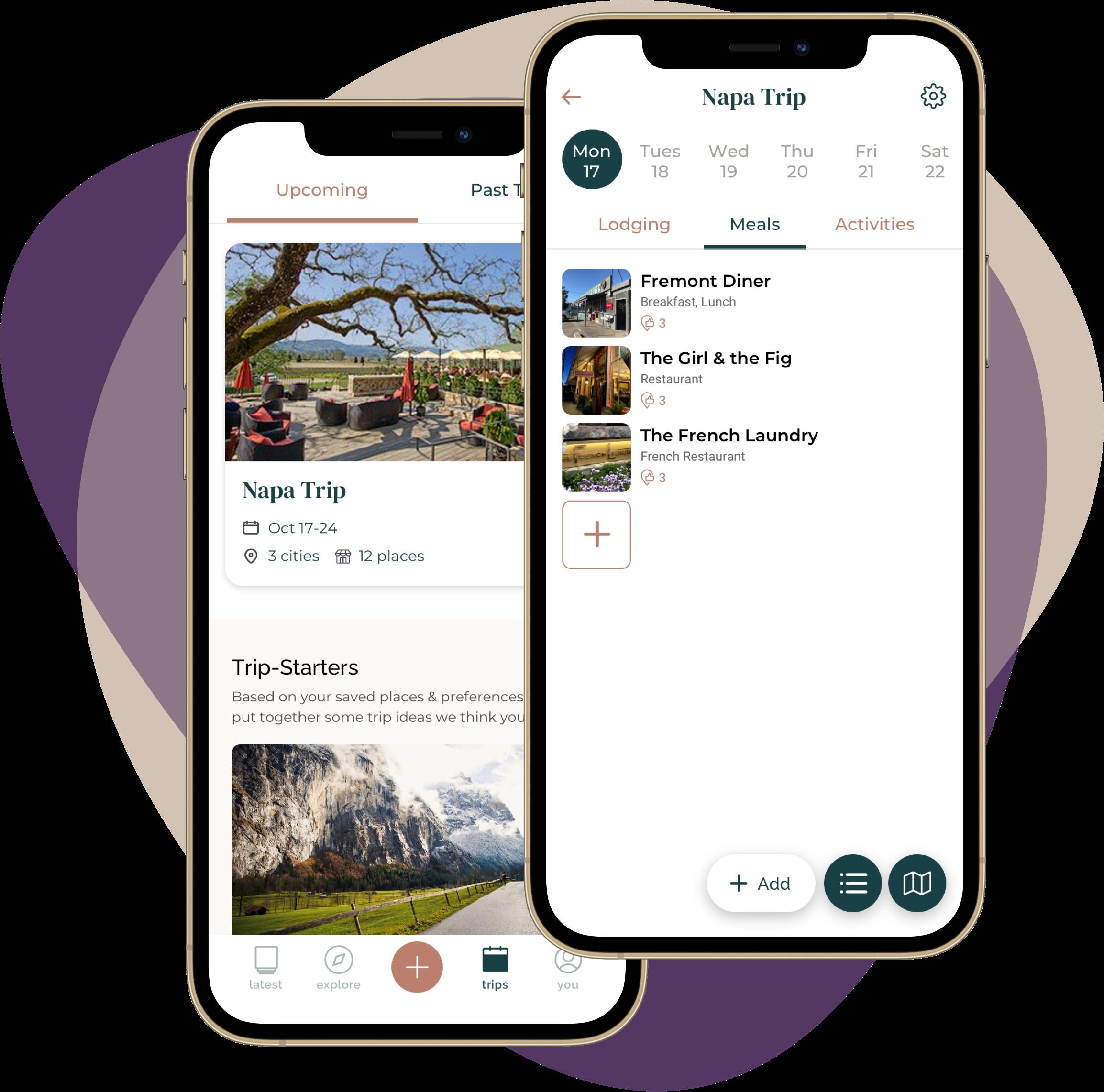 App screenshots of trip planning