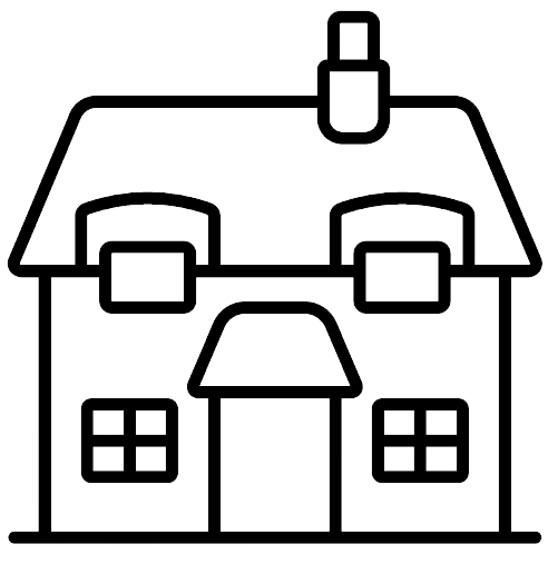 An outline of a house with a door, four windows and a chimney