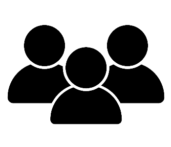 A group of blacked out symbols that represent people grouped together