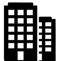 Icon of two commercial buildings with five stories and fifteen windows