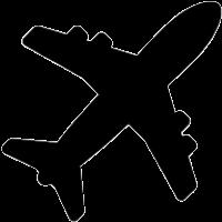 A black icon of an aeroplane