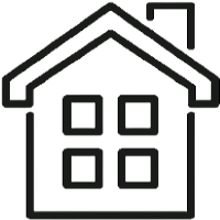 Icon of a house with a pointed roof, chimney and four windows