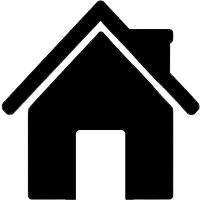 An icon of a house with one door, a pitched roof and a chimney