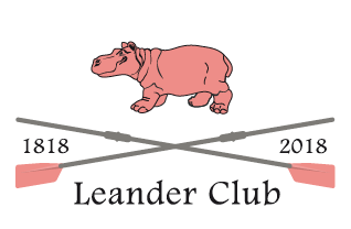 The logo for the Leander Club featuring a pink hippopotamus and crossed rowing oars