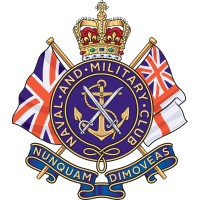 The logo for the Naval and Military Club featuring a gold anchor mounted on a blue shields with two English flags crossed behind and a crown placed on top