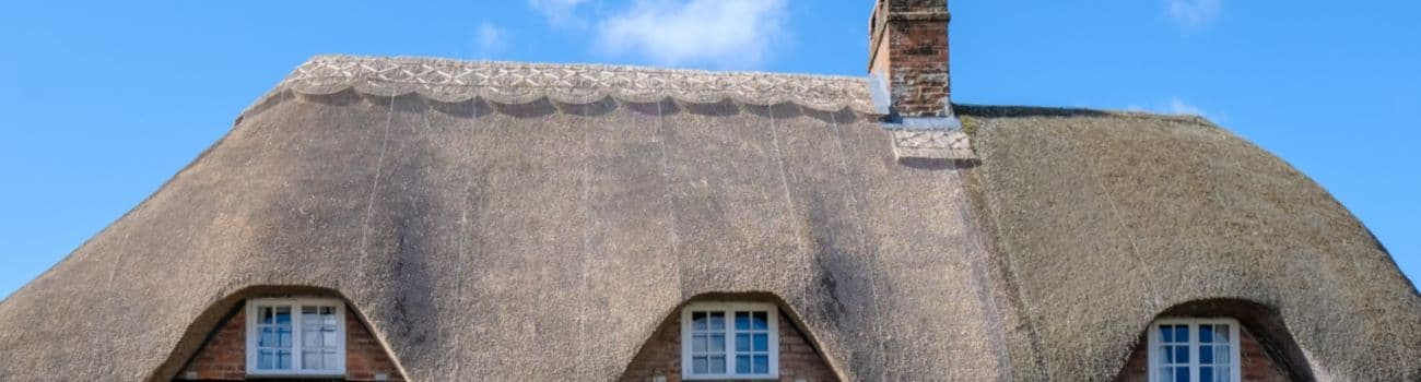 A thatched roof with one chimney and three windows built into the side of the thatch