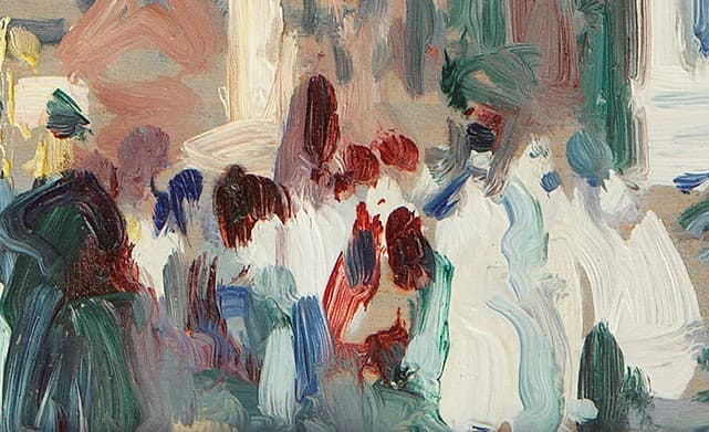 an abstract painting of people against a multicoloured background