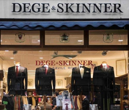 The window display for Dege & Skinner showing a range of suit jackets