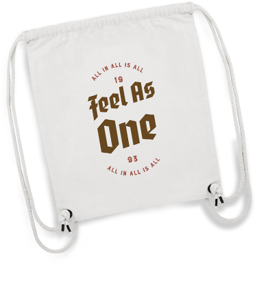 Weißes Gymbag mit Influencer-Logo