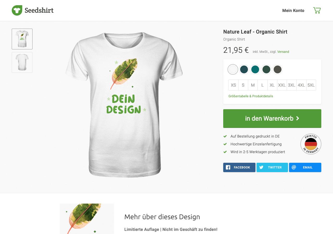Screenshot einer Seedshirt-Kampagne