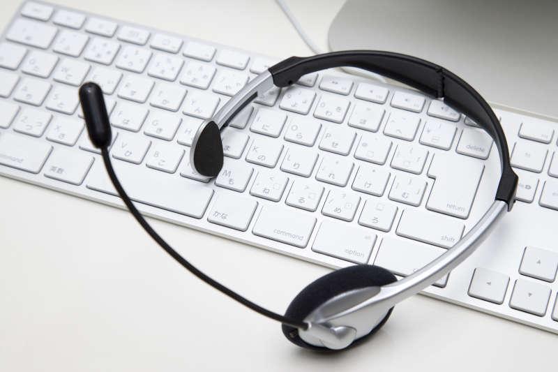 Headset op een toetsenbord