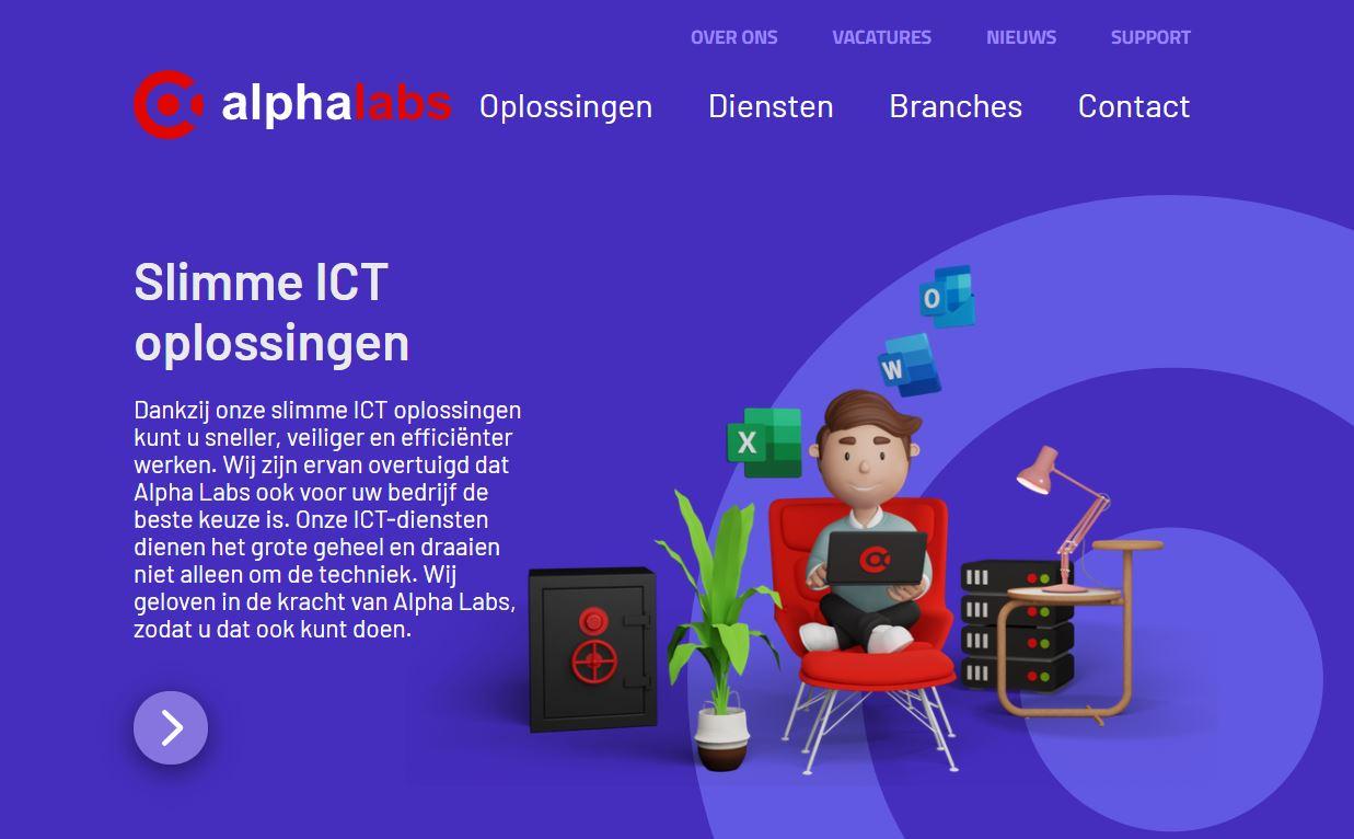 Website van Alpha Labs
