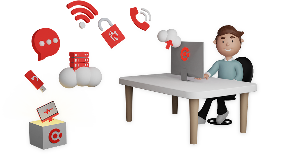 Getekende jongen die met een laptop op een stoel zit