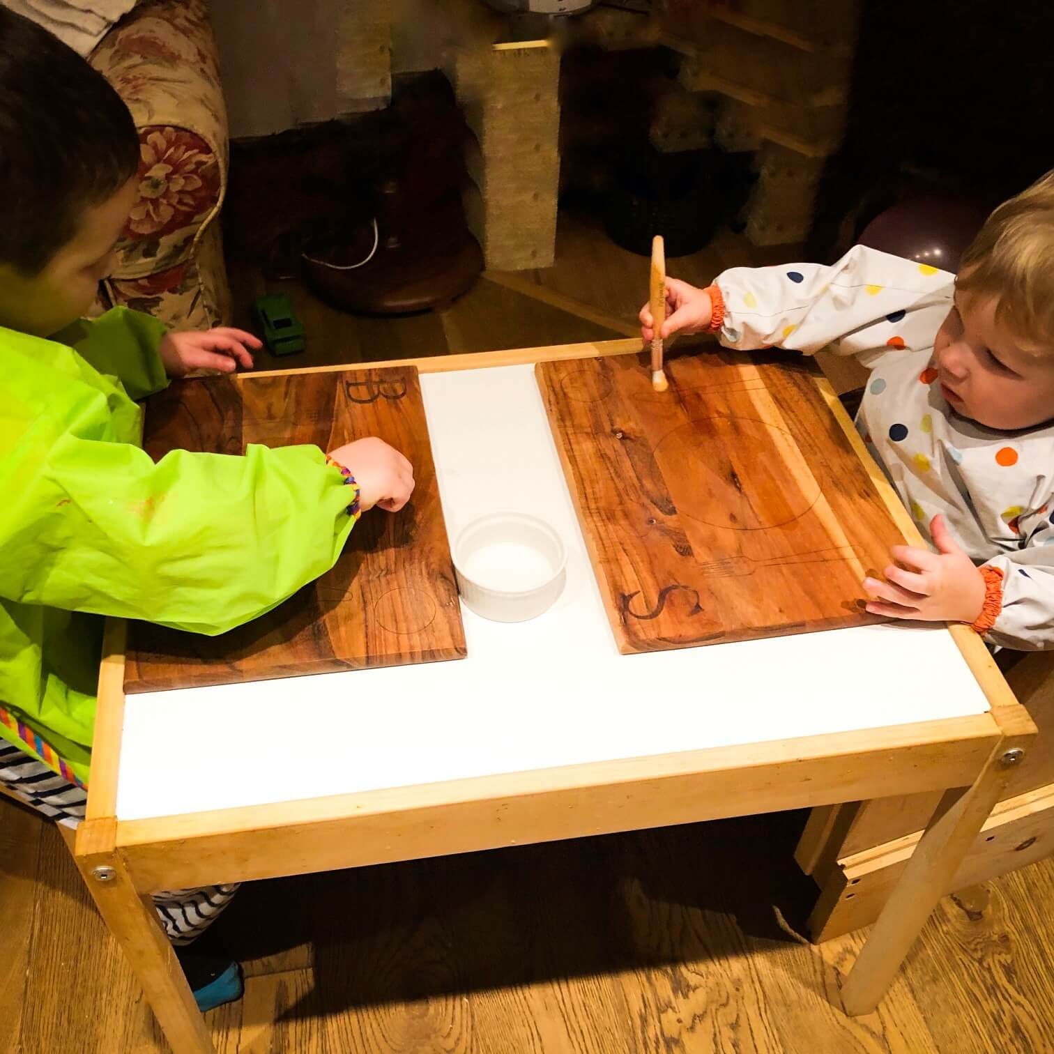 Benedykt and Sylvester - Montessori Placemat Cleaning