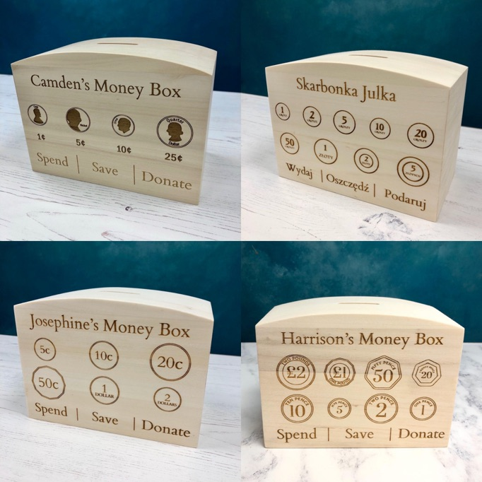 Montessori learning materials for Preschool, Nursery & Kindergarten - Money boxes