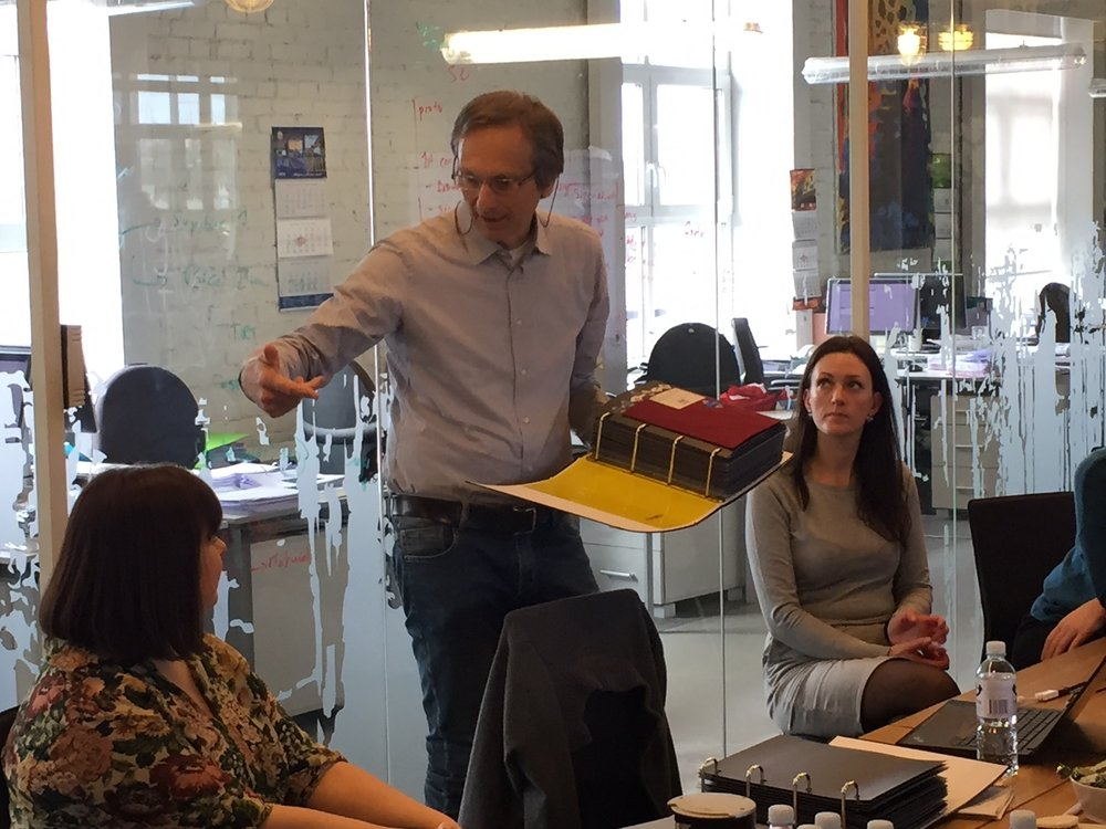 Alessandro Acuti from Pontetorto show the newest fabric collection to LTP's account managers in Kaunas, Lithuania