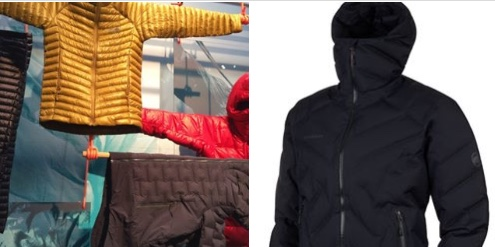 Photo 1; Mountain Hardwear selection of quilted products © Anne Prahl  Photo 2; Mammut Photics HS Thermo Hooded Jacket © image at www.sympatex.com