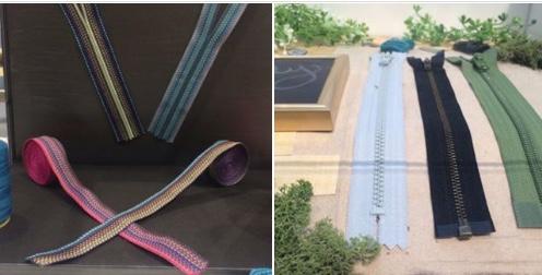 Photo 1; Welltern Enterprise Co. repurposed zips © Anne Prahl  Photo 2; YKK eco-friendly trim collection © Anne Prahl
