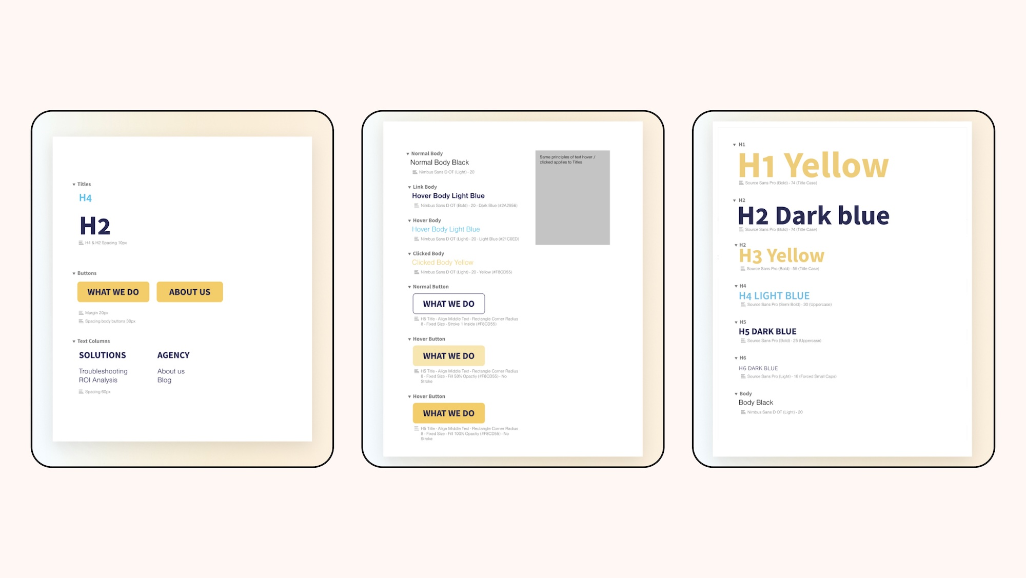 Style guides with font size for each heading, button interaction and spacing rules